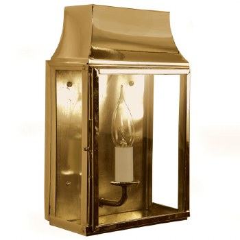 Strathmore Flush Outdoor Wall Lantern Small Polished Brass