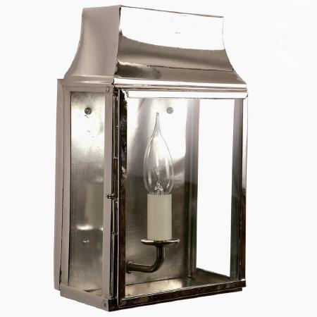 Strathmore Flush Outdoor Wall Lantern Small Nickel