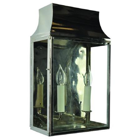 Strathmore Flush Outdoor Lantern Large Nickel