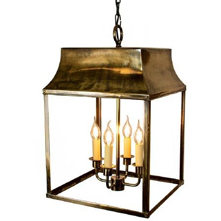 Strathmore Hanging Lantern Large Renovated Brass