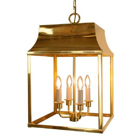 Strathmore Hanging Lantern Large Polished Brass