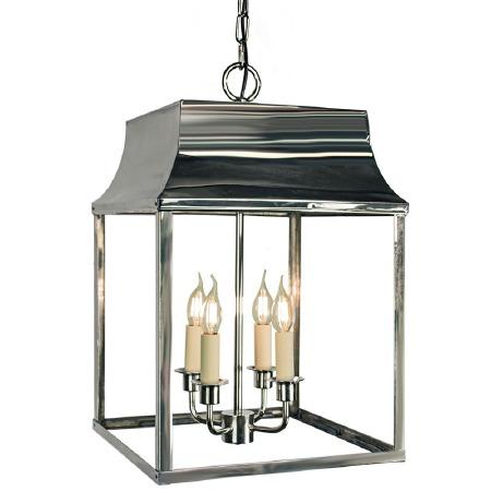Strathmore Hanging Lantern Large Polished Nickel