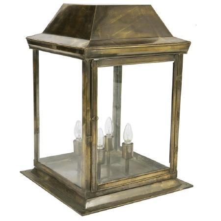 Strathmore Gate Post Lantern Large Renovated Brass