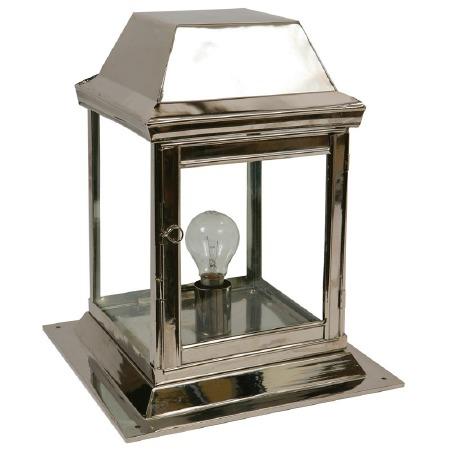 Strathmore Gate Post Lantern Small Polished Nickel