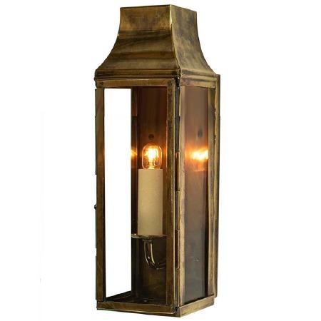 Strathmore Slim Flush Outdoor Wall Lantern Tall Renovated Brass