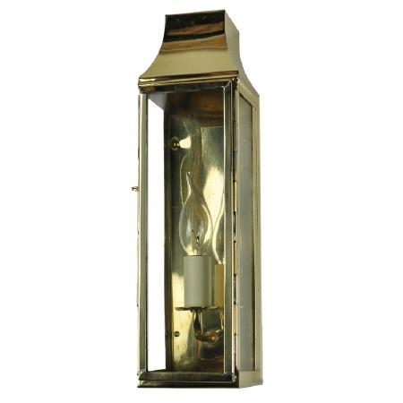 Strathmore Slim Flush Outdoor Wall Lantern Tall Polished Brass