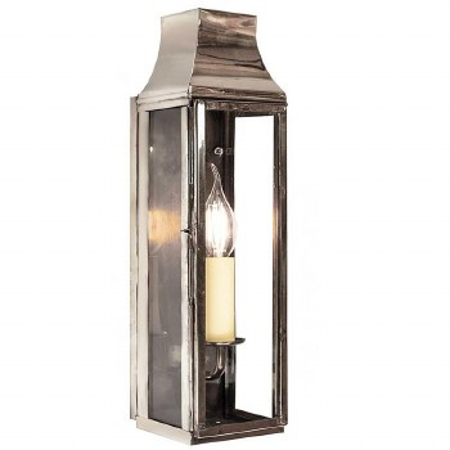 Strathmore Slim Flush Outdoor Wall Lantern Tall Polished Nickel