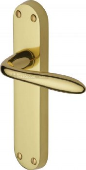 Heritage Sutton Latch Door Handles V6054 Polished Brass Lacquered
