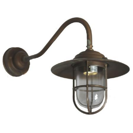 Como Swan Neck Outdoor Wall Light Lantern Antique Copper
