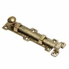 """Kirkpatrick B1155 Straight Door Bolt 6 1/4"""" Hammered Brass"""
