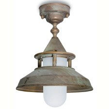 Modena Fixed Pendant Porch Light Aged Copper Opal Glass