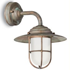 Messina Outdoor Deck Light Aged Copper with Opal Glass