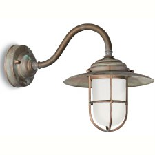 Messina Swan Neck Outdoor Wall Light Aged Copper