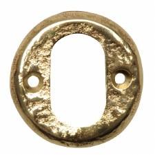 Kirkpatrick B1402 Round Oval Profile Escutcheon Hammered Brass