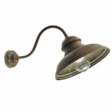 Como Angled Outdoor Wall Light Aged Copper Clear Glass