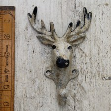 Deer Coat Hook Antique Cream Iron