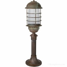 Andria Pedestal Light Aged Copper With Opal Glass