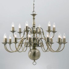 Flemish 18 Arm 2 Tier Chandelier Antique Brass