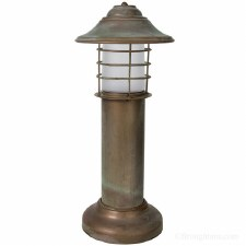 Eboli Small Bollard Light Aged Copper With Opal Glass