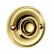 Croft Circular Door Bell Push 1913 Polished Brass Unlacquered