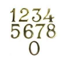 House Numbers 60mm Pin Fix Polished Brass Lacquered