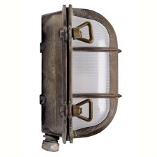 Oval Bulkhead Flush Outdoor Wall Light Small Aged Copper