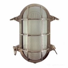 Oval Bulkhead Flush Outdoor Wall Light Nickel