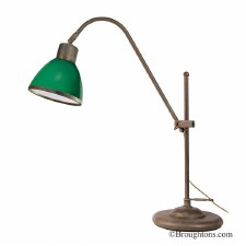 Adjustable Table Lamp 2018 Aged Copper with Green Glass