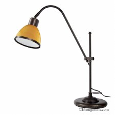 Adjustable Table Lamp 2018 Bronzed with Amber Glass