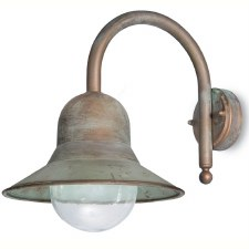 Forli Wall Bracket Hook Arm Dome Light Aged Copper Clear Glass
