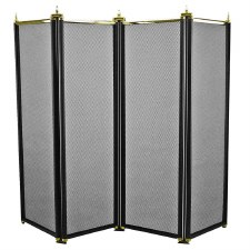 Regency Folding Fire Screen Black & Polished Brass