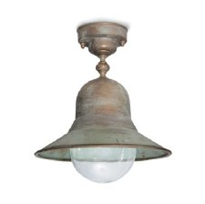 Forli Dome Fixed Pendant Porch Light Aged Copper Clear Glass