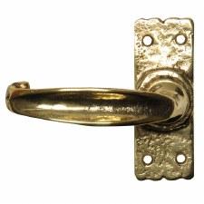 Kirkpatrick 2439S Short Plate Door Handles Hammered Brass