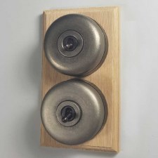 Round Dolly Light Switch on Wooden Base Antique Nickel with Bronzed Switches 2 Gang