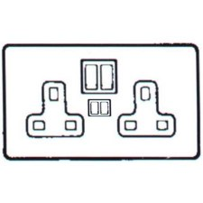 Pewter Switched Socket 2 Gang USB