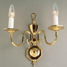 Georgian Flemish Double Wall Light Polished Brass