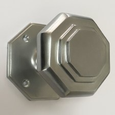 Aston Octagonal Cushion Mortice Door Knobs Satin Chrome
