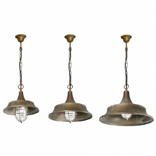 Lecce Porch Ceiling Pendant Light with Cage Aged Copper 320mm