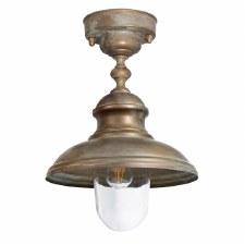 Como Semi Flush Porch Ceiling Light Aged Copper with Clear Glass
