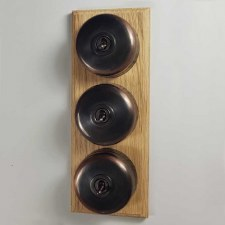 Round Dolly Light Switch on Wooden Base Oil Rubbed Bronze 3 Gang