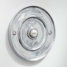 "Round  Bell Push 4"" for Wind-Up Bells Polished Chrome"