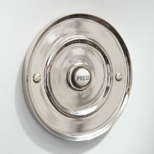 "Round Bell Push 4"" for Wind-Up Bells Polished Nickel"