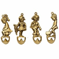 Set Of Four Hooks Polished Brass