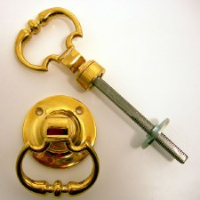 """Ring Handles for Rim Locks 2.1/2"""" Polished Brass Unlacquered"""