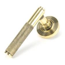 From The Anvil Brompton Lever Door Handles Beehive Aged Brass Sprung