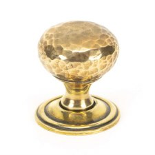 From The Anvil Hammered Mushroom Cabinet Knob 32 Aged Brass