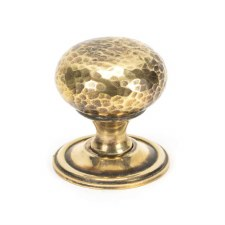 From The Anvil Hammered Mushroom Cabinet Knob 38 Aged Brass