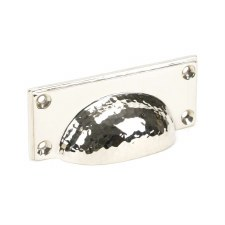From The Anvil Hammered Art Deco Drawer Pull Polished Nickel