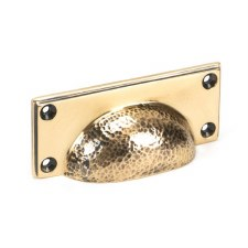 From The Anvil Hammered Art Deco Drawer Pull Polished Bronze