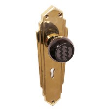 BROLITE 6358M Black Bakelite Walnut Door Knobs with Coppered Back-plates with Keyhole
